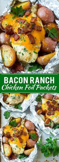 Bacon Ranch Chicken Foil Packets Chicken in Foil Foil Packet Recipe Ranch Chicken ranchchicken grilling chicken foilpacket foilpackets bacon dinner dinneratthezoo # Foil Packet Dinners, Foil Pack Meals, Foil Packet Recipes, Tin Foil Dinners, Tin Foil Recipes, Food Dinners, Chicken In Foil, Grilling Chicken, Chicken Packets