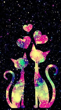Kitty Love Galaxy Wallpaper Source by Wallpaper World, Unicornios Wallpaper, Cute Wallpaper For Phone, Glitter Wallpaper, Heart Wallpaper, Cute Wallpaper Backgrounds, Pretty Wallpapers, Tumblr Wallpaper, Galaxy Wallpaper