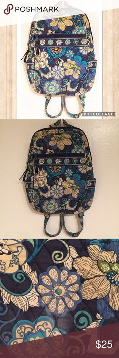 """Vera Bradley Mod Floral Blue Backpack Vera Bradley retired Print """"Mod Floral blue"""" Backpack. Two side pockets and a zipper pocket on front and back. Inside slip pockets. Zips shut. Adjustable straps. Does have a small faded spot on the front, some wear around the bottom corners, and some general signs of wear. Measures 12"""" Wide at the base and about 13.5"""" tall. #verabradley #vera #retired #backpack #modfloralblue #mod #floral #blue #bag #pockets #punkydoodle  No modeling Smoke free home I do…"""