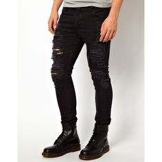 ASOS Super Skinny Jeans With Extreme Rips ($60) ❤ liked on Polyvore featuring men's fashion, men's clothing, men's jeans, men, jeans, pants, guy and black