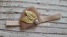 Light Beige Tan Feather Fan Headdress with Gold Metallic Leaves & Pearl Rhinestone Embellishment on Satin Headband - pinned by pin4etsy.com
