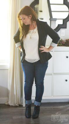 Petite Curvy Mom Style: Black blazer, lace top, jeans, black booties.