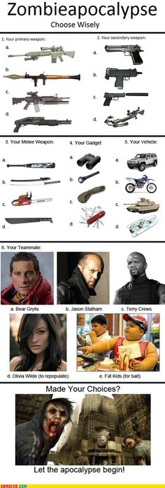 I'm going with   1) d   2) d  3) c  4) b   5) a   6) Terry Crews     BRING IT ZOMBIES!!