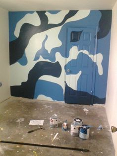 How to paint a camo pattern camo patterns stencil and for Camo mural wall