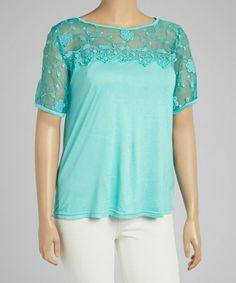 Loving this Mint Sheer Lace Scoop Neck Tee - Plus on #zulily! #zulilyfinds