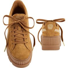 Puma X Fenty By Rihanna Cleated Brown Suede Creeper Sneakers (2,825 EGP) ❤ liked on Polyvore featuring shoes, sneakers, creeper shoes, suede leather shoes, brown suede shoes, puma footwear and puma creeper
