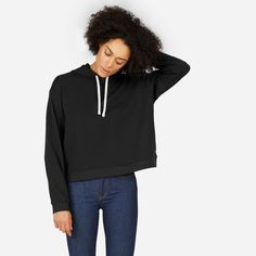 The essential hoodie—now way cooler. We looked to classic sportswear to create our French terry hoodie, but made it modern with an oversized-but-cropped square fit.