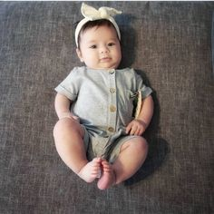 """88082568a90a LucyLue Organics  Baby Clothes on Instagram: """"Happy 4 months to this little  beauty @biancalambert !! What's cuter than a baby in a romper and knotted  ..."""