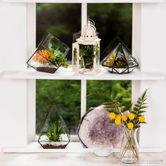 Say it isn't faux! Adding greenery to your home has never been easier than it is with terrariums filled with faux succulents and floral blooms!