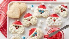 Santa Heart-Shaped Cookies (Courtesy of Betty Crocker/General Mills) Holiday Baking, Christmas Desserts, Christmas Baking, Christmas Treats, Christmas Cookies, Kids Christmas, Christmas Foods, Christmas Recipes, Valentine Cookies