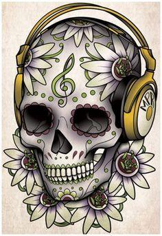Résultats de recherche d'images pour « black and white sugar skull girl tattoo »