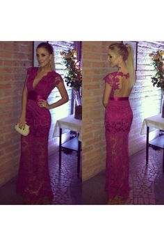 Mermaid V-Neck Lace Long Prom Formal Evening Party Dresses 3020932