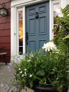 Shades of Blue Front Door Designs to Pretty Up Your Home Benjamin Moore Hamilton Blue and Cottage Red.Benjamin Moore Hamilton Blue and Cottage Red. Front Door Paint Colors, Painted Front Doors, Exterior Paint Colors, Exterior House Colors, Paint Colors For Home, Exterior Doors, Red House Exteriors, Blue Front Doors, Cottage Exterior