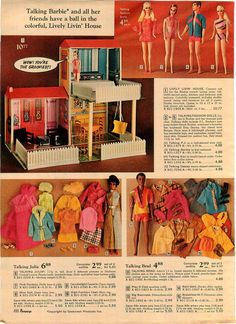 Lively Livin' House, Talking P.J., Barbie, Ken, Stacey, Julia and Brad and Barbie & Ken Fashions from the J.C. Penney Christmas Catalog, 1970