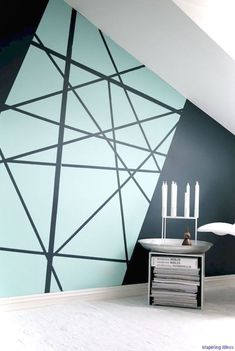 Creating an accent wall can be more than just adding paint color. See five inspiring accent wall ideas that can totally transform any room in your home. Modern wall paint design home decor idea Diy Wall Painting, Creative Wall Painting, Wall Paintings, Painting Accent Walls, House Painting, Painted Wall Art, Light Painting, Wall Patterns, Geometric Patterns
