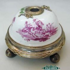 French Risler & Carre Silver Porcelain Table Bell Ca1900