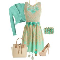 """mint and beige"" by frugalglammom on Polyvore"