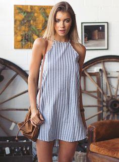 Halter Sleeveless Striped Mini Dress