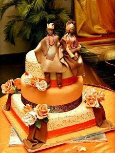 "Astrid Deetlefs 's african wedding Photo. Pinned in ""African themed cakes and cupcakes by various Artists from Websites""… African Wedding Cakes, African Wedding Theme, African Theme, Nigerian Traditional Wedding, Traditional Wedding Cakes, Traditional Cakes, Traditional Dresses, Swedish Wedding, Themed Wedding Cakes"