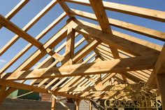 King post trusses and open vaulted ceilings - Oakmasters Timber Roof, Timber Buildings, Roof Trusses, Hydroponic Gardening, Hydroponics, Roof Structure, Roof Plan, House Roof, Vaulting