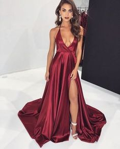 bbe18a401afc8 Sexy A-Line Deep V Neck Halter Criss Cross Back Burgundy Satin Long Prom  Dresses with Side Split