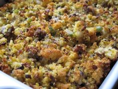 Cornbread Stuffing ~ Gluten Free w/ Sausage and Mushrooms ~ I like to mix day old pre-made Bob's Corn Bread Mix and a hearty loaf from a local gf bakery, it's always amazeballs, usually w/out the sausage though to keep the sodium down.