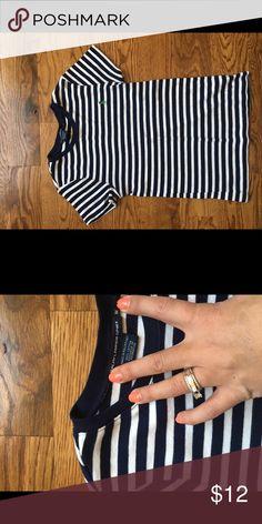 Ralph Lauren top Adult medium. Runs small. Navy and white stipe, green logo Ralph Lauren Tops Tees - Short Sleeve