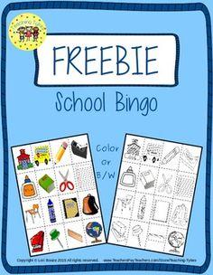 Back to School Bingo Freebie from https://www.teacherspayteachers.com/Product/Back-to-School-Interactive-1st-Grade-Math-Notebook-1872006