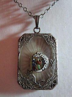 Vintage Antique Daughter of Rebekah Odd Fellows Camphor Glass Necklace Pendant   eBay