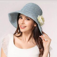 Fashion flower sun hat for women UV protection crochet straw hats Women's Dresses, Top Hats For Women, Floppy Hats, Straw Hats, Panama Hat Women, Sombrero A Crochet, Stylish Hats, Cloche Hat, Cute Hats