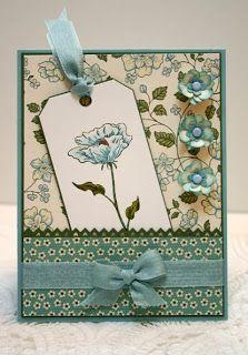 Joanne Travis: Sleepy in Seattle: Bloomin' Beautiful Bookmark - 4/27/11. (SU: Springtime Vintage dsp Baja Blue, Artichoke, White, Vanilla. Bloomin' Beautiful stamp).  (Pin#1: Tags...  Pin+: Pockets...).