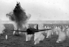 Japanese torpedo plane under anti-aircraft fire