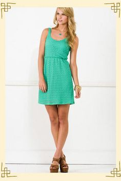 """I MUST go try on this minty """"cruise ship dress"""" from Francesca's! Click on alternate views to see the low back. Pretty. :)"""
