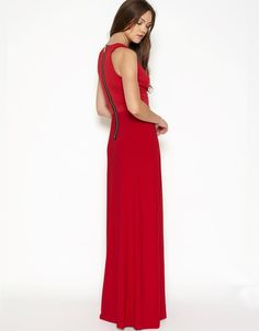 Hedonia Plunge Neck Maxi Dress With Front Leg Split