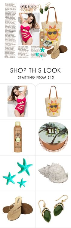 """Swimming"" by inggridchen ❤ liked on Polyvore featuring Style & Co., Sun Bum, Urban Decay, Dot & Bo, Tkees and Palm Beach Jewelry"