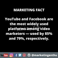 If you are into video marketing then this marketing fact will help you to understand that youtube and facebook is used widely in video marketing.  #marketingenthu #marketingenthufacts #youtube #facebook #videomarketing #digitalplatform #marketingstrategy #marketingstrategies #marketing #advertising #advertisingstrategy #socialmediapromotion #promotionactivity #video #videoupload #brandingstrategy #brandpromotion #promotionstrategy #promotion Promotion Strategy, Brand Promotion, Advertising Strategies, Acting, Facts, Marketing, Facebook, Digital, Youtube