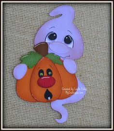 Premade de fantasma calabaza Halloween adorno de scrapbooking