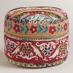 One of my favorite discoveries at WorldMarket.com: Multicolor Floral Round Pouf $80, and I saw them for $50 at Fred Meyers