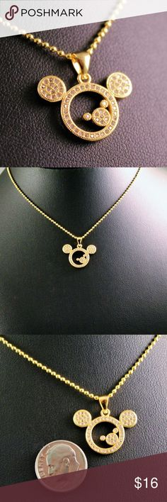 4b321e5460a9 Gold Rhinestone Mickey Mouse Pendant Necklace Gold Rhinestone Mickey Mouse  Pendant Necklace Pendant measures 0.80 inches