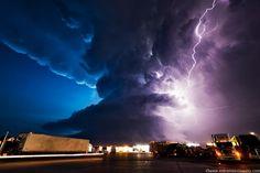 Storm Super Cell Over Truck Stop, York Nebraska, June 2009 - by Mike Hollingshead - Pixdaus