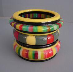 bakelite bangles in fabulous colours like sweets