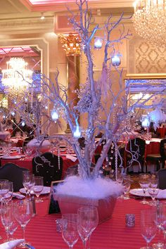 Winter Wonderland Trees with Hanging Crystals
