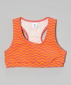 Love this Hot Pink Zigzag 'Love' Sports Bra - Girls on #zulily! #zulilyfinds