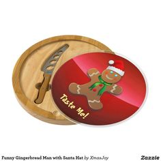 Funny Gingerbread Man with Santa Hat Round Cheeseboard