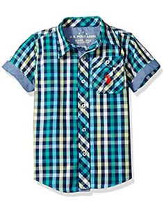 U.S Boys Short Sleeve Gingham Roll Up Woven Polo Assn