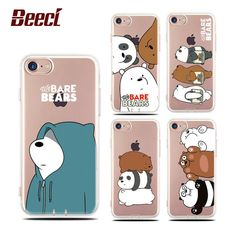 Beeci For iPhone 7 Case Clear Soft TPU Back Cover Fundas For iPhone7 6s 6 Plus 7Plus 6Plus Cute Cartoon We Bare Bear Coque Cases