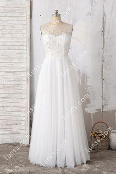 f5c10f579f Ivory Illusion Jewel Neckline Beaded Lace Tulle A-line Floor-length Wedding  Dress