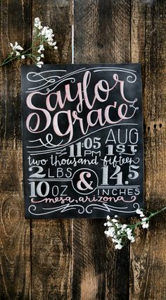 Custom Hand Painted Newborn Baby Birth Stats by Breetique on Etsy