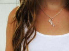 """Adorable little """"love"""" necklace in crisp white by elbowsdesigns on Etsy"""