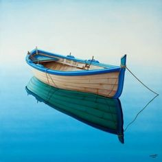 Best Ideas Old Boats Painting Blue Old Boats, Small Boats, Seascape Art, Boat Art, Float Your Boat, Boat Painting, Water Reflections, Floating In Water, Wooden Boats